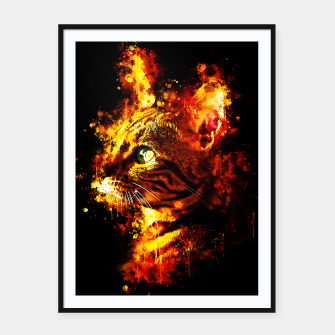 Miniatur gxp bengal cat yearns for freedom splatter watercolor Framed poster, Live Heroes