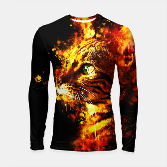 Miniatur gxp bengal cat yearns for freedom splatter watercolor Longsleeve rashguard , Live Heroes
