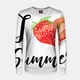 I love Summer Strawberry Woman cotton sweater obraz miniatury