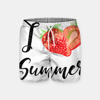 I love Summer Strawberry Swim Shorts obraz miniatury