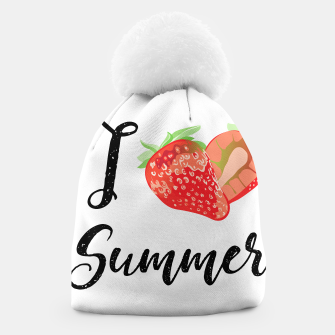 I love Summer Strawberry Beanie obraz miniatury