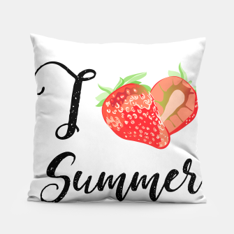 I love Summer Strawberry Pillow obraz miniatury