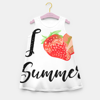 I love Summer Strawberry Girl's summer dress obraz miniatury