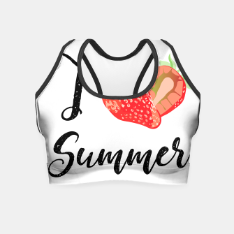 I love Summer Strawberry Crop Top obraz miniatury