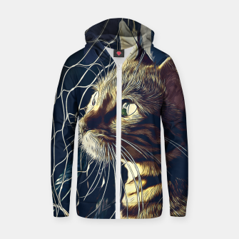 Miniatur gxp bengal cat yearns for freedom vector art foggy night Cotton zip up hoodie, Live Heroes