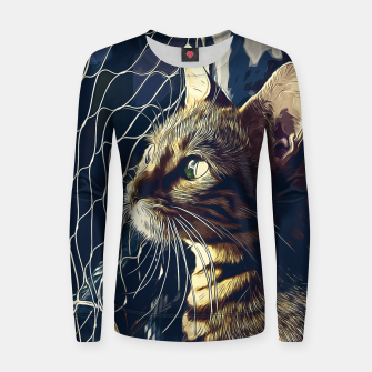 Miniatur gxp bengal cat yearns for freedom vector art foggy night Woman cotton sweater, Live Heroes