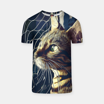 Miniatur gxp bengal cat yearns for freedom vector art foggy night T-shirt, Live Heroes