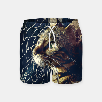 Miniatur gxp bengal cat yearns for freedom vector art foggy night Swim Shorts, Live Heroes