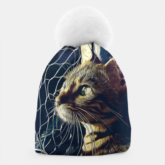 Miniatur gxp bengal cat yearns for freedom vector art foggy night Beanie, Live Heroes