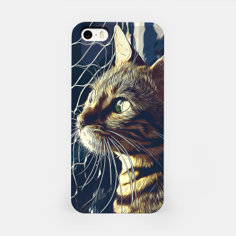 Miniatur gxp bengal cat yearns for freedom vector art foggy night iPhone Case, Live Heroes