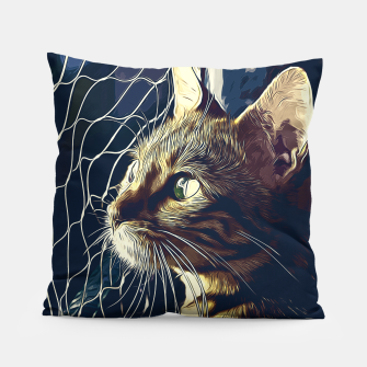 Miniatur gxp bengal cat yearns for freedom vector art foggy night Pillow, Live Heroes
