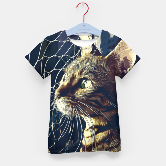 Miniatur gxp bengal cat yearns for freedom vector art foggy night Kid's t-shirt, Live Heroes