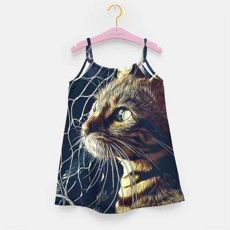 Miniatur gxp bengal cat yearns for freedom vector art foggy night Girl's dress, Live Heroes