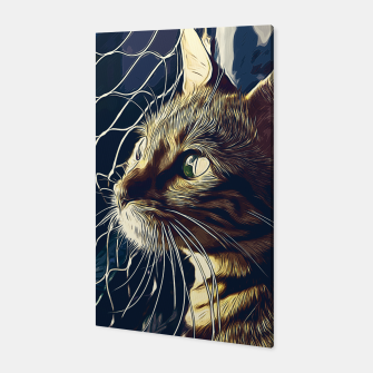 Miniatur gxp bengal cat yearns for freedom vector art foggy night Canvas, Live Heroes