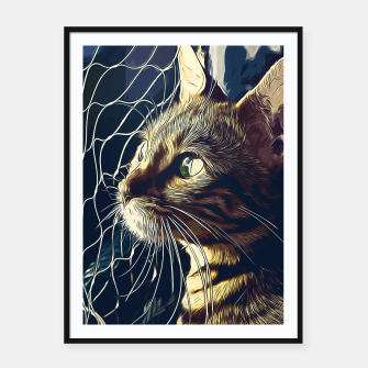 Miniatur gxp bengal cat yearns for freedom vector art foggy night Framed poster, Live Heroes