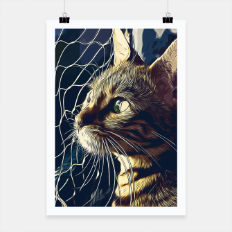 Miniatur gxp bengal cat yearns for freedom vector art foggy night Poster, Live Heroes