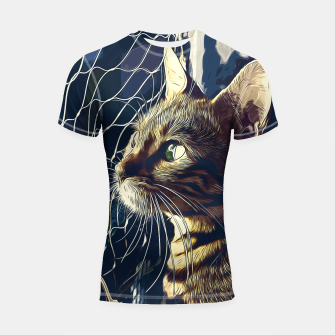 Miniatur gxp bengal cat yearns for freedom vector art foggy night Shortsleeve rashguard, Live Heroes