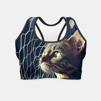 Miniatur gxp bengal cat yearns for freedom vector art foggy night Crop Top, Live Heroes