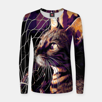 Miniatur gxp bengal cat yearns for freedom vector art late sunset Woman cotton sweater, Live Heroes