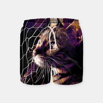 Miniatur gxp bengal cat yearns for freedom vector art late sunset Swim Shorts, Live Heroes