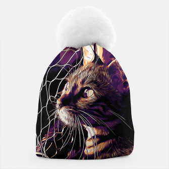 Miniatur gxp bengal cat yearns for freedom vector art late sunset Beanie, Live Heroes