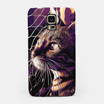 Miniatur gxp bengal cat yearns for freedom vector art late sunset Samsung Case, Live Heroes