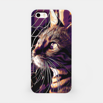 Miniatur gxp bengal cat yearns for freedom vector art late sunset iPhone Case, Live Heroes