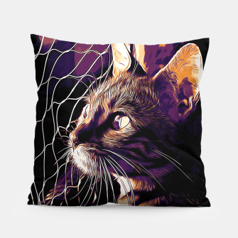 Miniatur gxp bengal cat yearns for freedom vector art late sunset Pillow, Live Heroes
