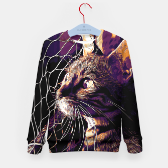 Miniatur gxp bengal cat yearns for freedom vector art late sunset Kid's sweater, Live Heroes