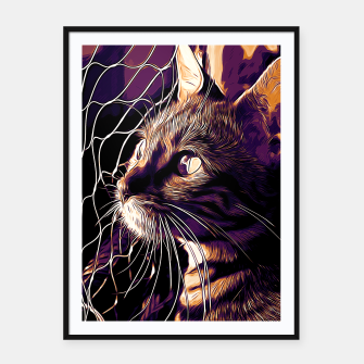 Miniatur gxp bengal cat yearns for freedom vector art late sunset Framed poster, Live Heroes