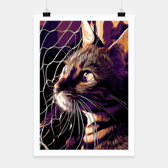 Miniatur gxp bengal cat yearns for freedom vector art late sunset Poster, Live Heroes