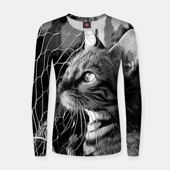 Miniatur gxp bengal cat yearns for freedom vector art black white Woman cotton sweater, Live Heroes