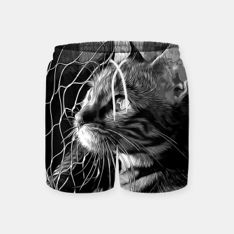 Miniatur gxp bengal cat yearns for freedom vector art black white Swim Shorts, Live Heroes
