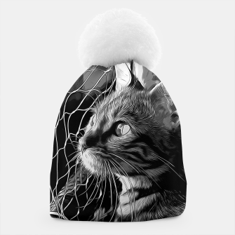 Thumbnail image of gxp bengal cat yearns for freedom vector art black white Beanie, Live Heroes