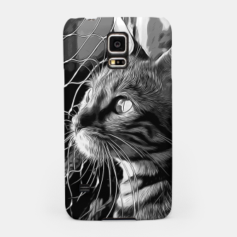 Thumbnail image of gxp bengal cat yearns for freedom vector art black white Samsung Case, Live Heroes