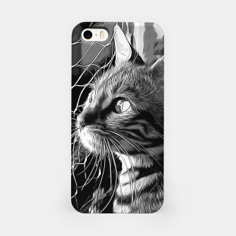 Thumbnail image of gxp bengal cat yearns for freedom vector art black white iPhone Case, Live Heroes