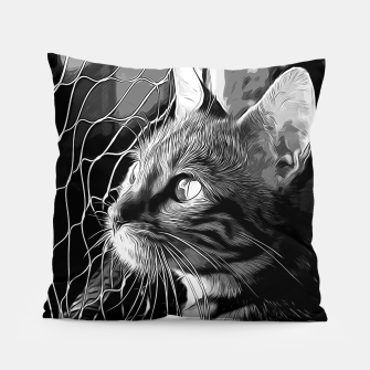 Thumbnail image of gxp bengal cat yearns for freedom vector art black white Pillow, Live Heroes
