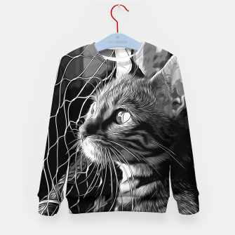 Thumbnail image of gxp bengal cat yearns for freedom vector art black white Kid's sweater, Live Heroes
