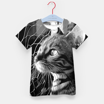 Thumbnail image of gxp bengal cat yearns for freedom vector art black white Kid's t-shirt, Live Heroes