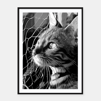 Thumbnail image of gxp bengal cat yearns for freedom vector art black white Framed poster, Live Heroes