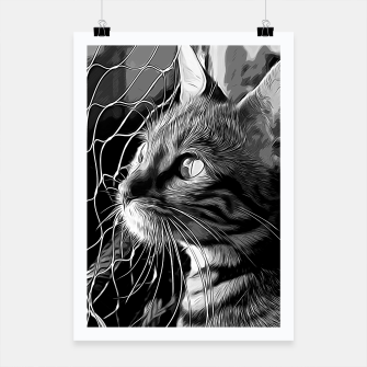 Thumbnail image of gxp bengal cat yearns for freedom vector art black white Poster, Live Heroes