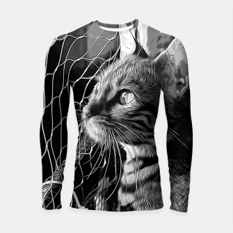 Thumbnail image of gxp bengal cat yearns for freedom vector art black white Longsleeve rashguard , Live Heroes