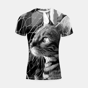 Thumbnail image of gxp bengal cat yearns for freedom vector art black white Shortsleeve rashguard, Live Heroes