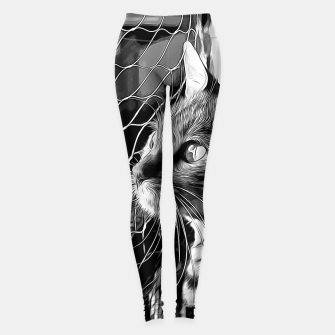 Thumbnail image of gxp bengal cat yearns for freedom vector art black white Leggings, Live Heroes