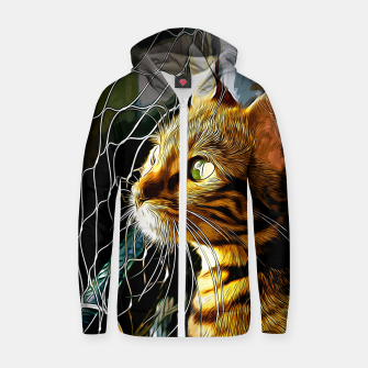 Thumbnail image of gxp bengal cat yearns for freedom vector art Cotton zip up hoodie, Live Heroes