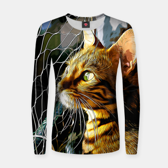 Thumbnail image of gxp bengal cat yearns for freedom vector art Woman cotton sweater, Live Heroes