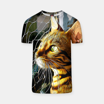 Thumbnail image of gxp bengal cat yearns for freedom vector art T-shirt, Live Heroes