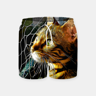 Thumbnail image of gxp bengal cat yearns for freedom vector art Swim Shorts, Live Heroes