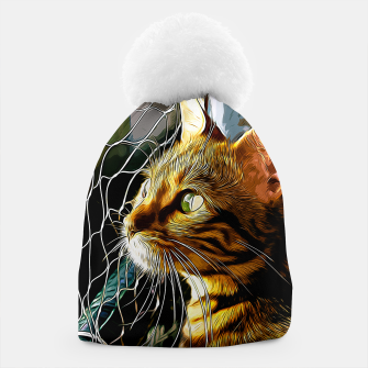 Thumbnail image of gxp bengal cat yearns for freedom vector art Beanie, Live Heroes