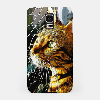 Thumbnail image of gxp bengal cat yearns for freedom vector art Samsung Case, Live Heroes